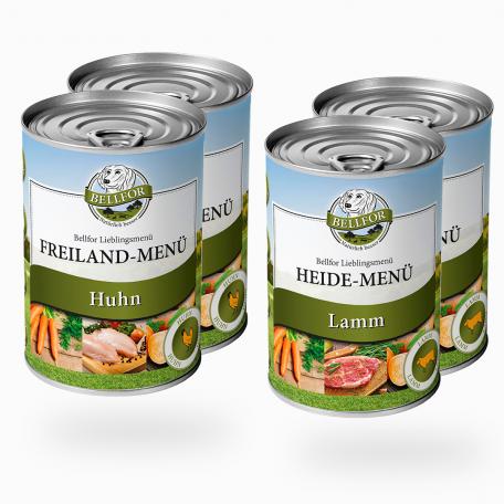 Starter-Paket Nassfutter mit Huhn und Lamm - Freiland-Menü 2x400g + Heide-Menü 2x400g