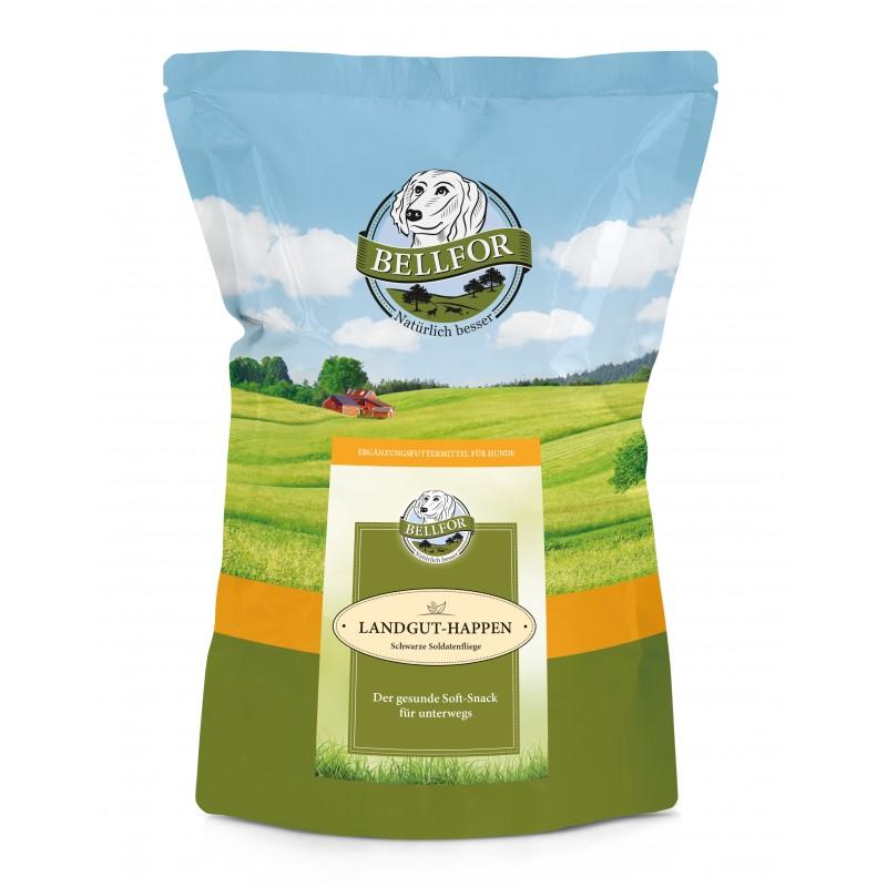 Mix 4 Soft-snacks für Hunde - Freiland-Happen mit Huhn 200g + Heide-Happen mit Lamm 200g + Wildbach-Happen mit Lachs 200g + Landgut-Happen mit Insekten 200g von Bellfor Hundefutter