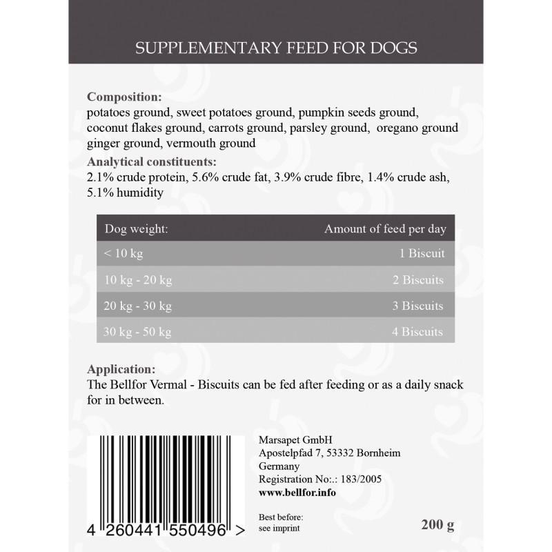 Nahrungsergänzung für Hunde - Vermal von Bellfor Hundefutter - Kekse - 200g