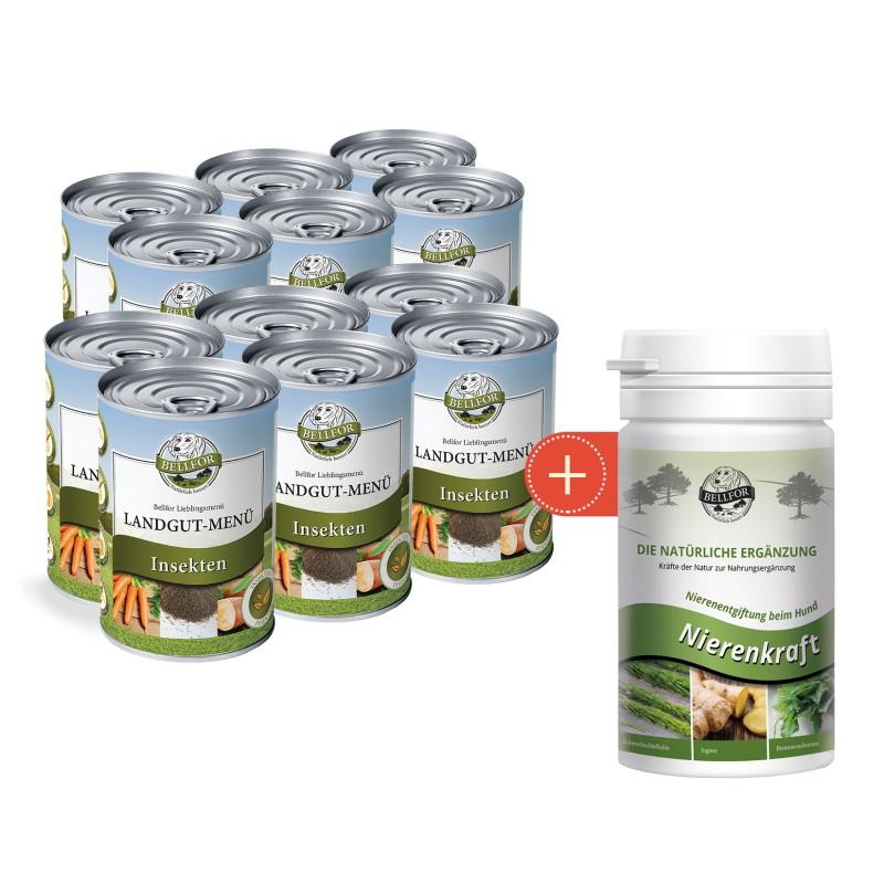 Sparset Nr. 10 - Landgut-Menü Nassfutter 2x 6x400g  + Nierenkraft Nierenentgiftung beim Hund mit Nierenkraft - Pulver 80g von Bellfor Hundefutter